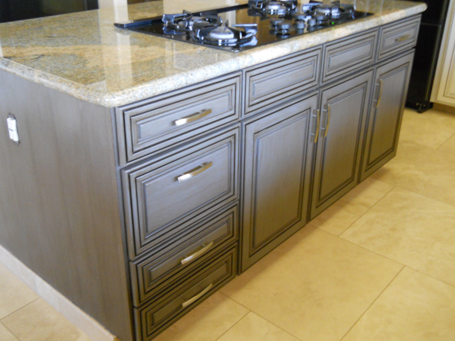 Grey glazed kitchen cabinets for Finished kitchen cabinets